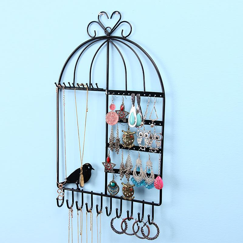 Black-Pink-white-Bird-cages-hanging-box-multi-purpose-Metal-Earrings-Jewelry-Display-Hanging-font-b